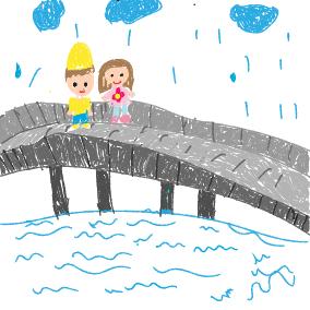 Es regnet auf der Brücke
