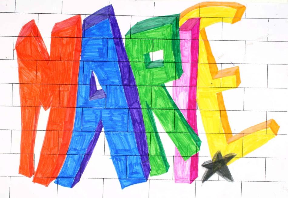 Graffiti mit dem eigenen Namen von Marie (14)