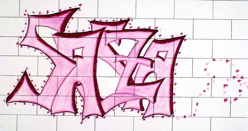 Graffiti mit dem eigenen Namen von Sandra (14)
