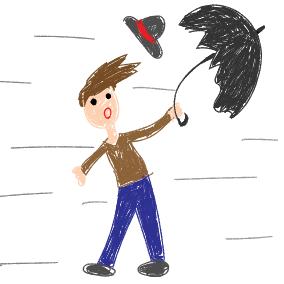 Ein Hut, ein Stock, ein Regenschirm