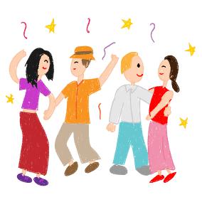 Tanzen und springen