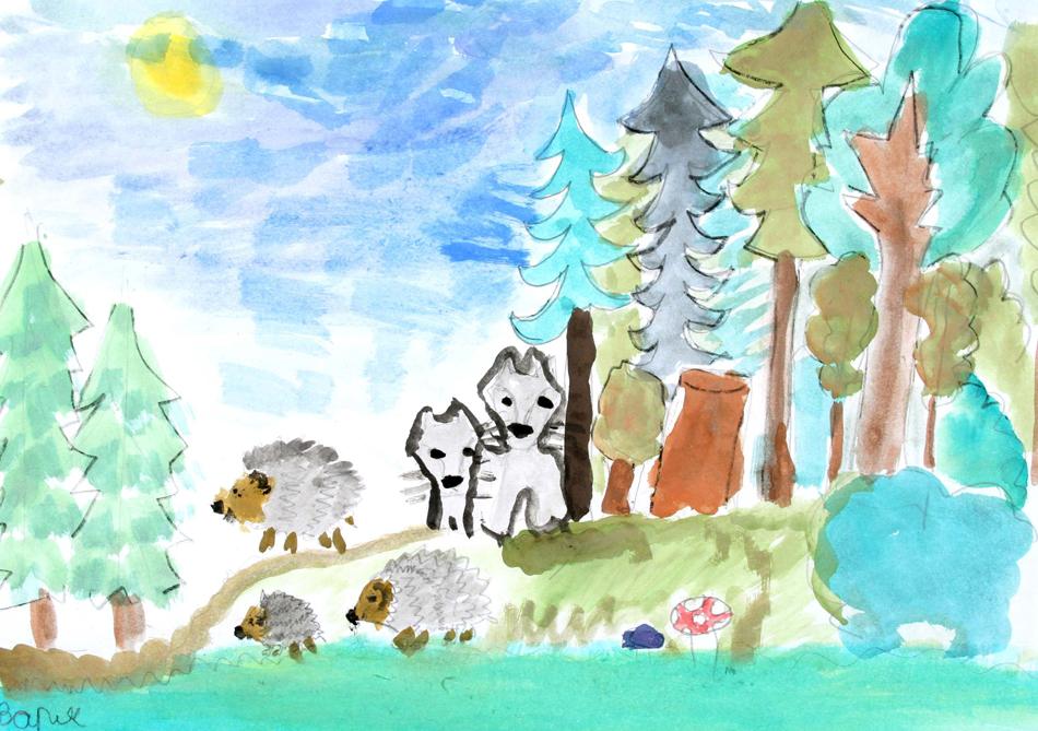 Igelfamilie mit jungen Wölfen von Barbara (8)