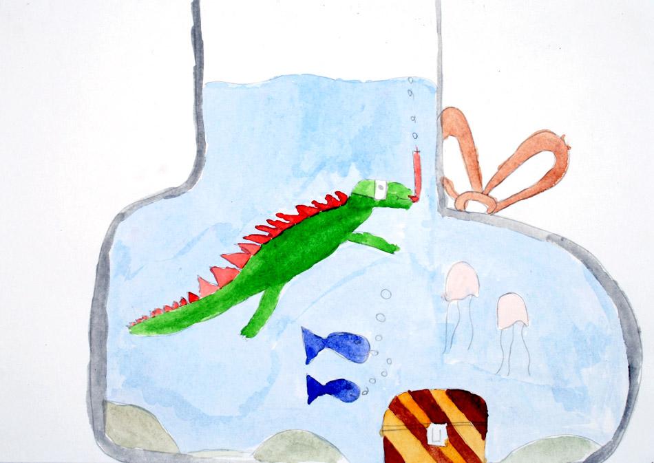 Der Saurier taucht schnorchelnd im Stiefel von Nele (10)