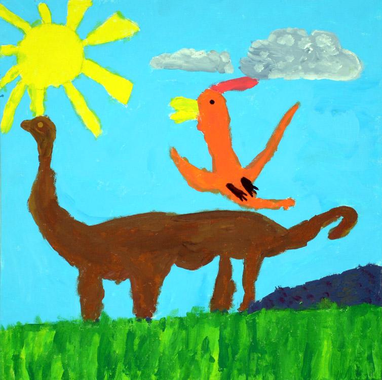 Saurier mit Urzeitvogel von Tim (8)