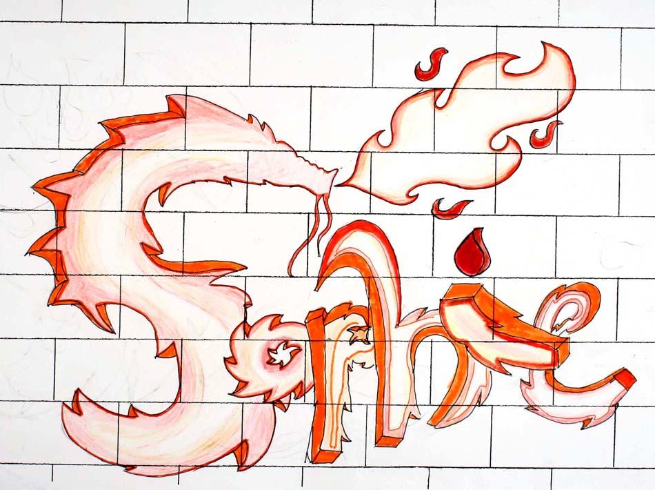 Graffiti mit dem eigenen Namen von Sophie (14)