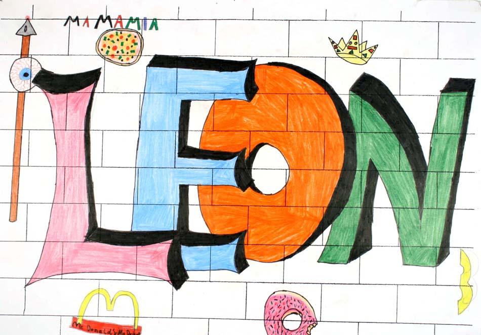 Graffiti mit dem eigenen Namen von Leon (14)