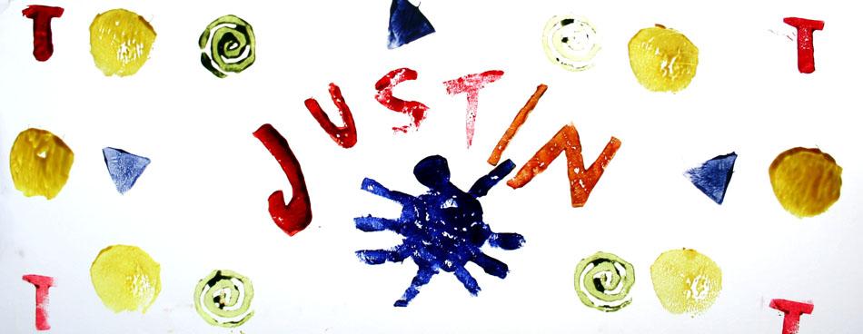 Fensterbild mit Name und Symbolen von Justin (8)
