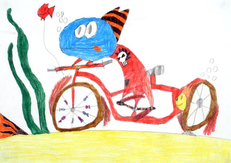 Monster fährt vergnügt Fahrrad unter Wasser von Tim (8)