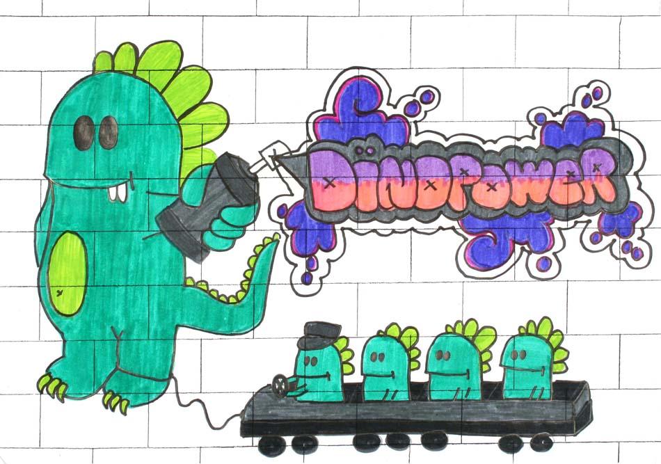 Graffiti Dinopower von Alina (14)