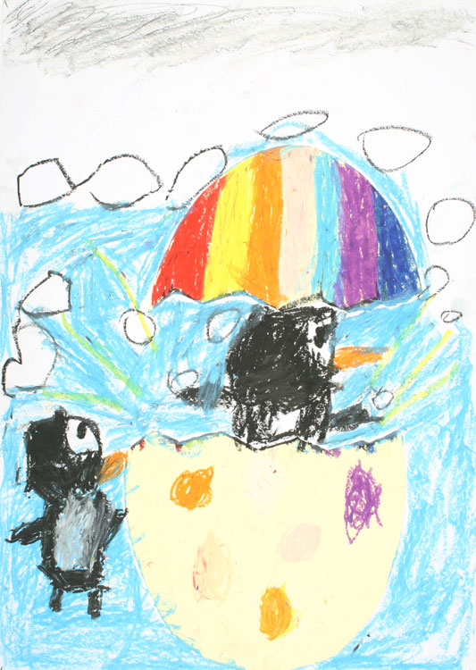 Ein Pinguin kommt aus dem Ei von Maiko (7)