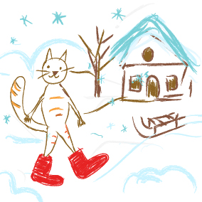 ABC, die Katze lief im Schnee