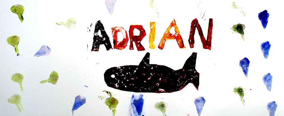 Fensterbild mit Name und Symbolen von Adrian (6)