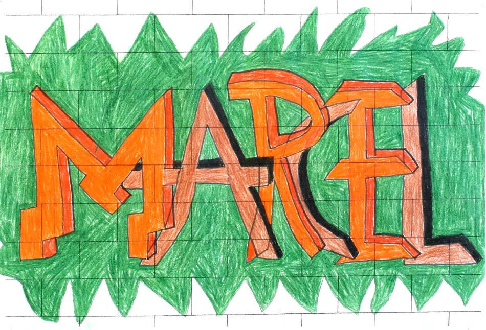 Graffiti mit dem eigenen Namen von Marcel (14)