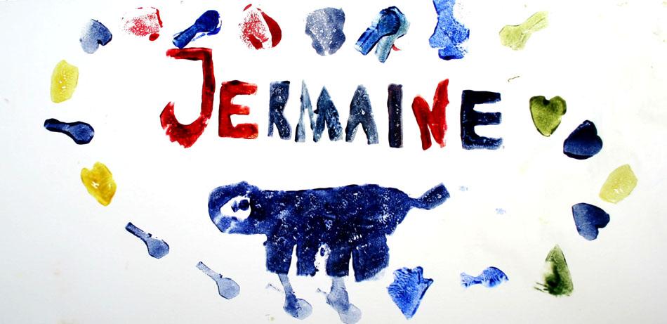 Fensterbild mit Name und Symbolen von Jermaine (6)