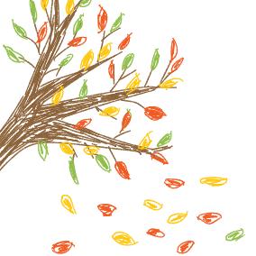 Das Laub fällt von den Bäumen