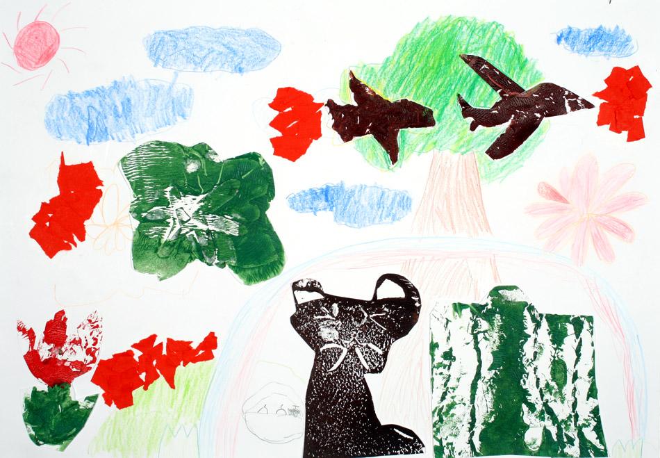Katze schaut den Vögeln nach von Yumika (9)