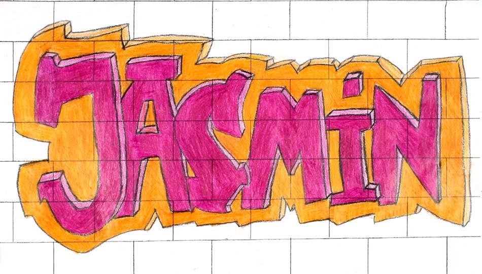 Graffiti mit dem eigenen Namen von Jasmin (14)