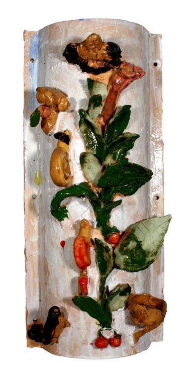 Säule mit Blättern, Blüten, Früchten und kleinen Tieren von OGS (7-10)