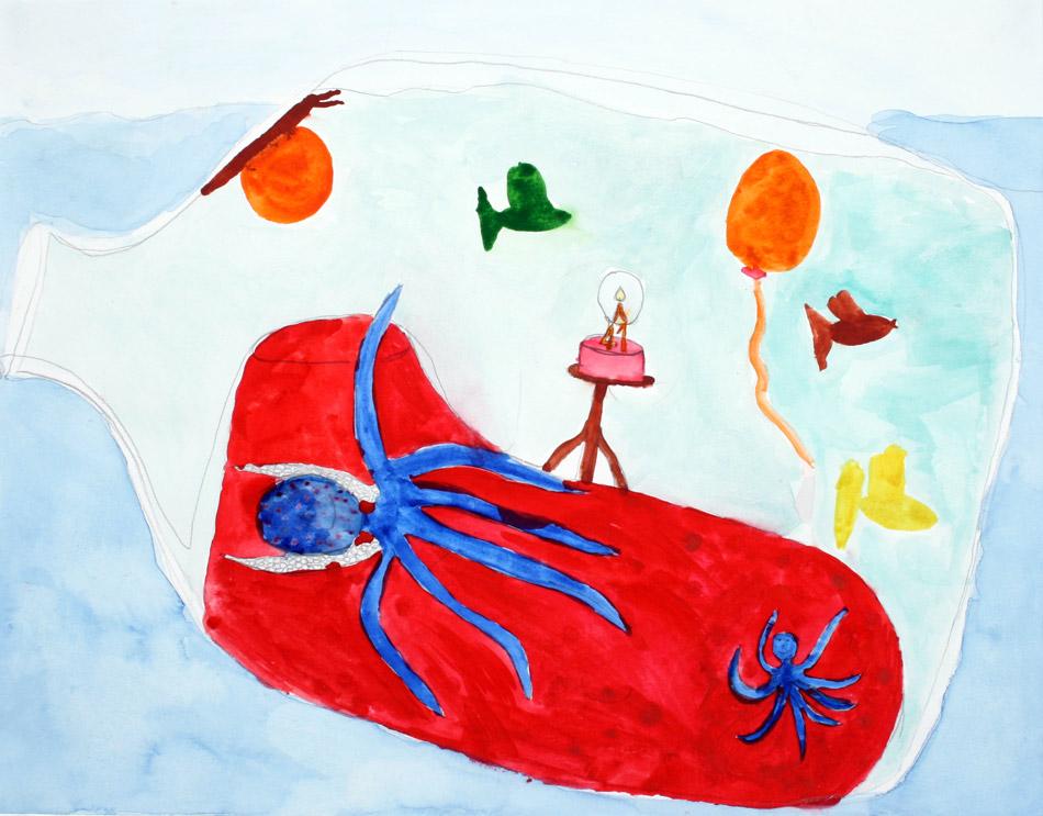 Ein Tintenfisch feiért glücklich seinen Geburtstag in der Flaschenpost von Nele (10)