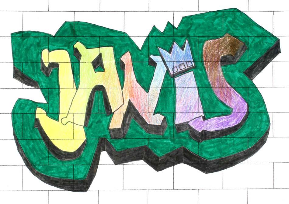 Graffiti mit dem eigenen Namen von Janis (14)