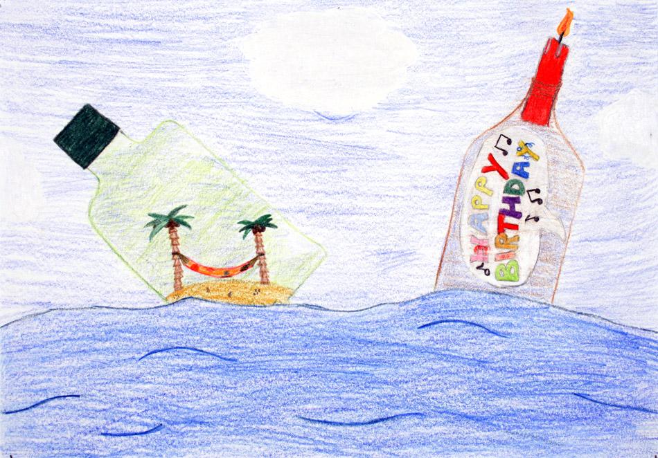 Zwei Flaschen feiern zusammen im Meer Geburtstag von Pauline (13)