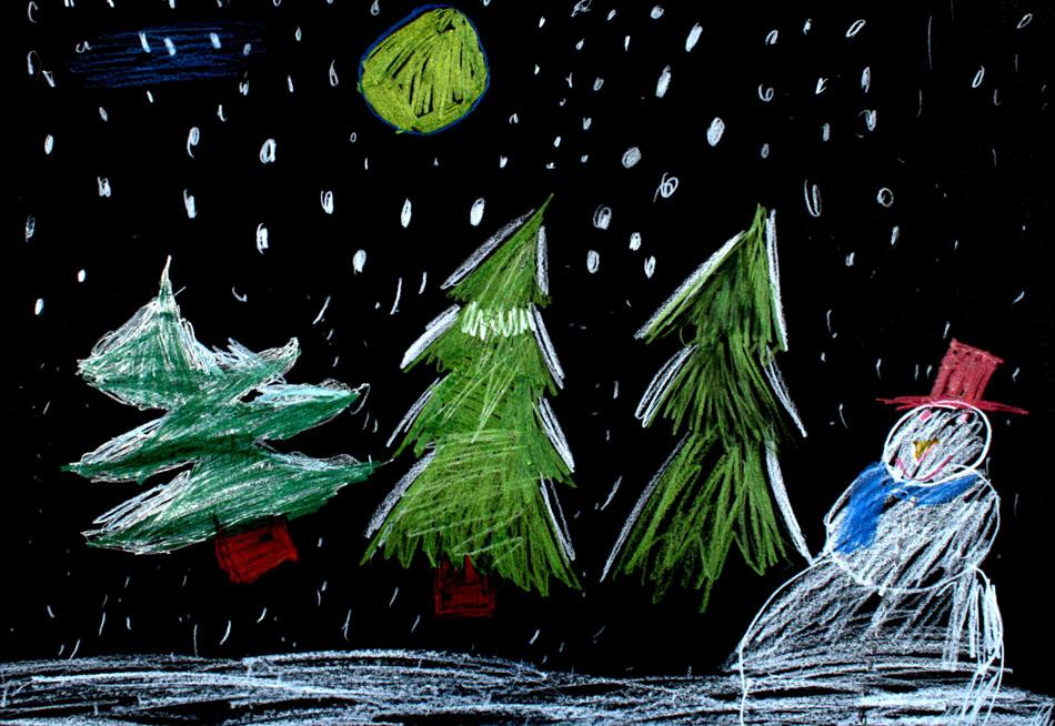 Schneemann bei Nacht von Luisa (7)
