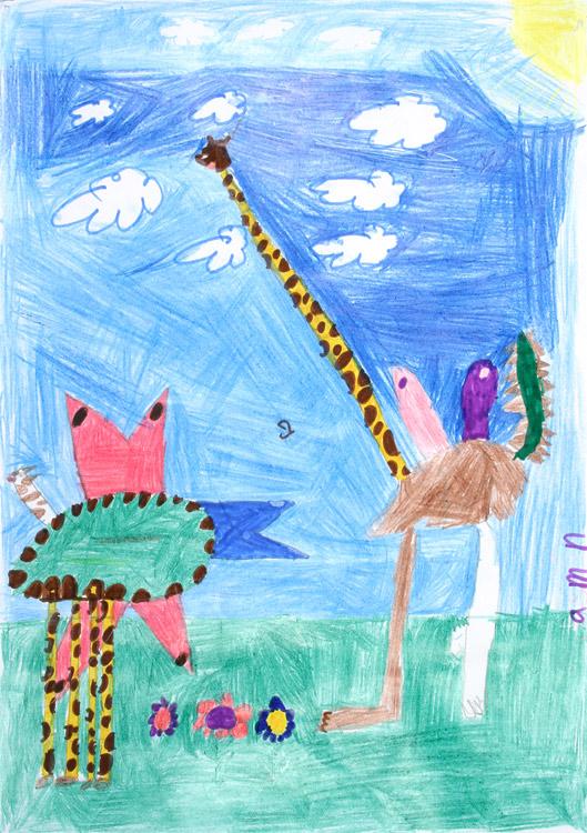 Zwei Phantasietiere begegnen sich von Jasmin (9)